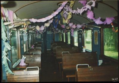 Интерьер вагона №3, украшенного к празднику