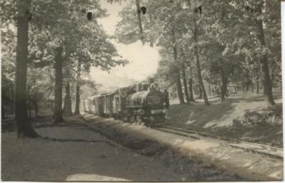 Паровоз ЛК83-1 с поездом на перегоне