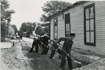 Стройка тупикового пути возле депо на ст. Парк
