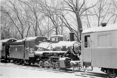 Паровоз Кв4-039 и вагоны в тупике на ст. Парк